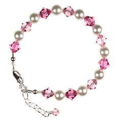- Pink Swarovski Crystals & Pearls - Sterling Silver Findings and Extender Chain - Toddler size (12-48 months) - Item Number: CB4765