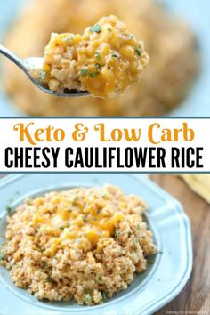 Easy Cheesy Cauliflower Rice Recipe – Keto Cheesy Cauliflower Recipe Are you looking for a healthy but still delicious alternative to macaroni and cheese? This cheesy cauliflower rice recipe is easy and low carb. Low Carb Side Dishes, Side Dish Recipes, Low Carb Recipes, Healthy Recipes, Dishes Recipes, Low Carb Vs Keto, Low Carb Rice, Paleo Food, Pie Recipes