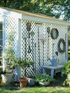 Trellis is a great idea to cover that ugly metal shed #metalgardensheds