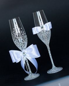 White Wedding glasses LACE decorated by hand by DiAmoreDS on Etsy, $49.00