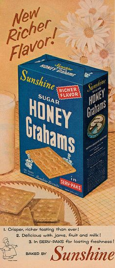 Sunshine Sugar Honey Grahams ad, 1953.