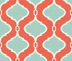Alessandra Trellis in Bright Coral and Turquoise fabric by sparrowsong on Spoonflower - custom fabric
