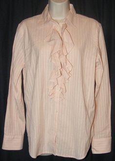 $16.99   Lauren Ralph Lauren Light Pink White Striped Ruffle Front 100% Cotton Top L