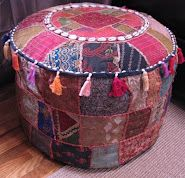 Patchwork Footstool from India is the most comfortable footstool ever, but needs an occasional fluffing.