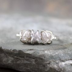 Three Stone Rough Diamond Ring   Trio Rough by ASecondTime on Etsy, $595.00