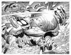 Thor by John Romita Jr. for Marvel Comics. Marvel Comics Art, Marvel Comic Books, Comic Books Art, Comic Book Artists, Comic Artist, John Romita Jr, Black And White Comics, The Mighty Thor, Superhero Characters
