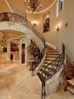 Building a new custom home or completely remodeling your homes interior? Why not go all out and design your own staircase? There are so many different options when designing and building a custom staircase. From rare and unique types of Lobby Interior, Home Interior Design, Interior Architecture, Staircase Design, Staircase Ideas, House Stairs, Entryway Stairs, Entryway Decor, Style At Home