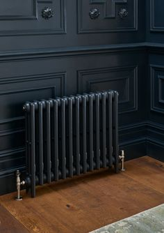 Cast iron Radiators, wooden panelling and paint. A perfect combination for your Black Radiators, Column Radiators, Cast Iron Radiators, Modern Radiators, Decorative Radiators, Victorian Radiators, Painted Radiator, Painted Stairs, Ideas