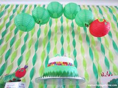 "Love the streamer background..   The Very Hungry Caterpillar, by Eric Carle / Birthday ""Noah's 1st Birthday"" 