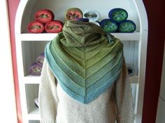 Stephen West's boneyard shawl in ombre cotton link to a free pattern