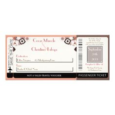 Coral Pink Brown  Boarding Pass Wedding Invitation