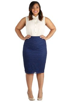 Impressionist Exhibit Skirt in Navy - Plus Size - Knit, Woven, Blue, Solid, Lace, Work, Cocktail, Pencil, Variation