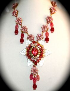 STANLEY HAGLER N.Y.C. OOAK pink necklace - art glass, poured glass crystals