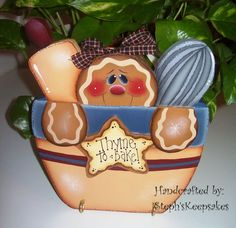 Handpainted Gingerbread Pot Holder by stephskeepsakes on Etsy, $16.49