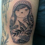 tattoos, tattoo, tattoo artist, lauren dubee, ink jam russian nesting doll tattoo, babushka, matryoshka fine line black and white tattoo with birds and flowers by lauren dubee at ink jam tattoo studio. www.sleeperhollow.com
