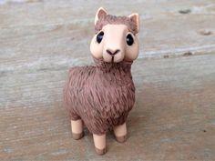 Brown llama: Handmade miniature polymer clay by AnimalitoClay