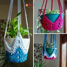 FREE CROCHET PATTERN! Never-Ending Star Plant hanger crochet pattern. Make whatever size fits your potted planter. Great idea!
