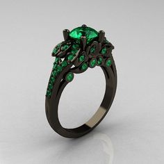 Classic 14K Black Gold 1.0 CT Emerald Blazer Wedding Ring