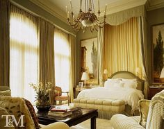 Traditional Master Bedroom with Carpet, Crown molding, Sheer curtains, High ceiling, Floor to ceiling curtain, Chandelier