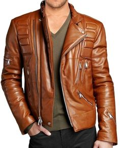 Classic Diamond Biker Motorcycle Distressed vintage Leather Jacket ...