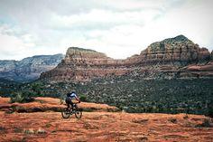 Sedona Arizona, mountain biking Slim shady trail and highline.