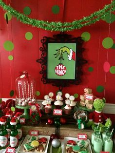 the Rainbow Christmas Tree year? The Grinch Christmas/Holiday Party Ideas. Dont let the Grinch steal your Christmas this year. Grinch Party, Le Grinch, Grinch Christmas Party, Office Christmas Party, Christmas Party Decorations, Noel Christmas, Family Christmas, Holiday Parties, Xmas Party Ideas