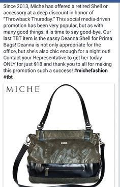TBT-  This is the final TBT shell Miche will be offering. Deanna perfectly olive green for the month of March. What a great St Patty's day shell.....see if it will bring you the Luck of the Irish!!!! https://sandrasgotmy.miche.com