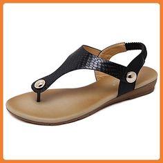 Vertvie Damen Sommer Schuhe Strandschuhe Offene T-Spangen Flats Thong Sandalen Zehentrenner Schuhe Strand Flip Flop Hausschuhe (40 EU, Gelb)