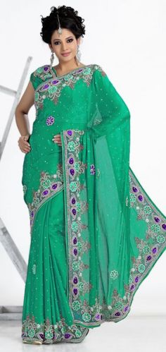 Green Color Satin Chiffon Party Wear Saree OYSM1424. Sale: $261.00