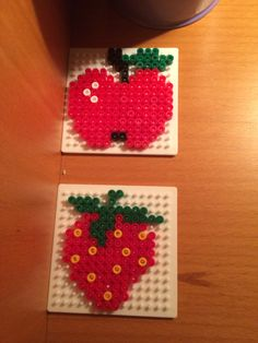 Apple and strawberry hama beads by Camilla Merstrand
