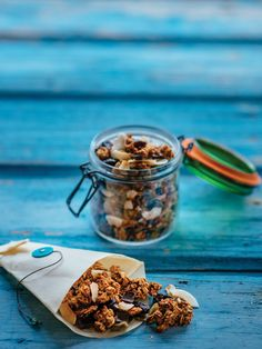 These trail mix granola clusters have all the flavours of the season we're craving right now Dried Goji Berries, Dried Cherries, Granola Clusters, Granola Bars, Pure Maple Syrup, Pumpkin Puree, Cravings, Trail, Snacks