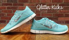Tiffany Blue Nike Free Run 5.0 Blinged Out by ShopGlitterKicks