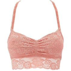 Charlotte Russe Lace Racerback Bralette ($11) ❤ liked on Polyvore featuring intimates, bras, rose, sheer bra, see-through bras, lace bra, racerback bra and sheer lace bra