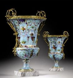 Sevres vases in the Etruscan style with ormolu mounts