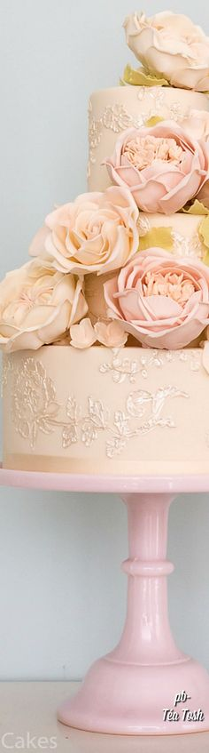 Love this peachy cake! http://www.rosalindmillercakes.com/wedding-cakes/blush-roses-and-piped-embroidery/