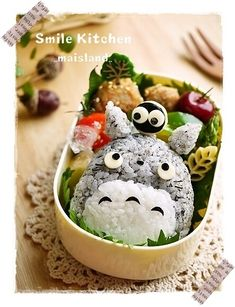 Totoro kyaraben. Grey part; ground black sesami + rice. Attach the ears with dry spaghetti