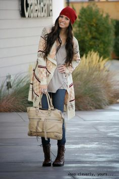 A must have for your fall uniform, as modeled by the gorgeous Robyn of Cleverly, Yours.  Style Trend Clothiers - Shapes Cardigan in Beige, $68.00