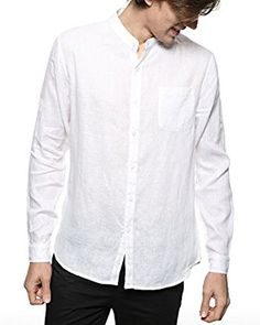 Mens Long Sleeve Button Down Shirts,Males Band Collar Casual Beach Regular Fit Letter Printed Plus Size Blouse Tops