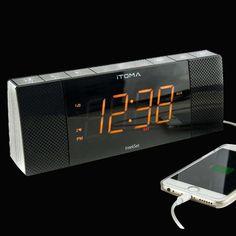 Itoma Cks503bt Alarm Clock Radio With Fm Radio Dual Alarm Auto Time Date Bluetooth Usb Charging Auxiliary Input