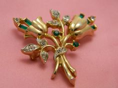 Coro Tulip Brooch vintage green and clear by VogelHausVintage, $26.00