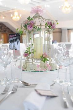 Antique birdcages make lovely centrepieces