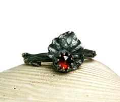 Twig Ring Sterling Silver Red Garnet, Handmade Rustic Woodland Fairy Jewelry, Unique Dainty, made to order by TazziesCustomJewelry