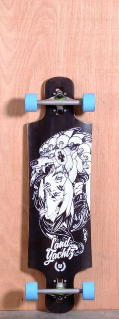 """The Landyachtz Drop Hammer Longboard Deck is designed for Carving, Cruising and Freeride. Ships fully assembled and ready to skate! Function: Carving, Cruising, Freeride Features: Medium W Concave, Drop Through, Rocker, Wheel Cutouts Material: 5 Ply Vertically Laminated Bamboo, Fiberlass Core Length: 36.4"""" Width: 10"""" Wheelbase: 26"""" Thickness: 1/2"""" Hole Pattern: Old School Grip: Black"""