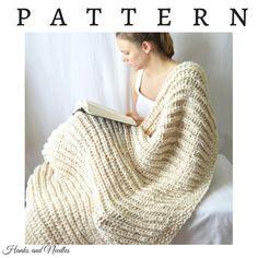 Chunky Knit Throw Blanket Knitting Pattern PDF by HanksAndNeedles