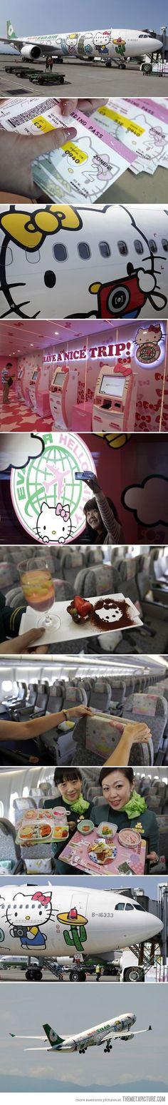 A Closer Look Inside Hello Kitty Airlines  jajaj el avion ideal para cata !! :D  @pmamiaro @gafernet