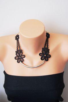 Black Necklace/ Lace Necklace/ Silver Bar by ArtofAccessory