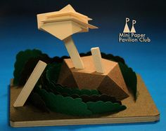 model / paper / architecture / pavilion / miniature / vancouver / MPPC / mini paper pavilion club: Mountain Observatory Pavilion. Enjoy a burger and a ball at the 1950's style diner and bowling alley.