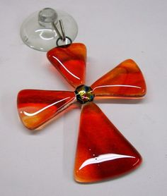 Fused Glass Cross Suncatcher Small Orange/Red by CDChilds on Etsy, $12.00
