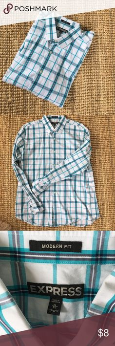 Express Mens Plaid Shirt - size XL 17-17 1/2 Express Mens Plaid Shirt - size XL 17-17 1/2, used condition, teal, gray and white Express Shirts Dress Shirts
