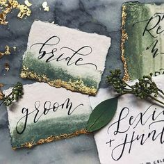 Forest Green + Gold Foiling on the dreamiest handmade cotton rag paper from  @fabulousfancypants Finishing up the night with some emails + some December wedding prep + some custom vintage window frames + 347 cups of coffee ✍️ #mondayrunday